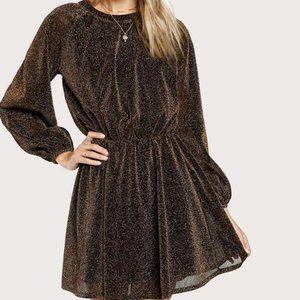 ✨Host Pick✨Brown Glitter Dress Slit Back in M & L